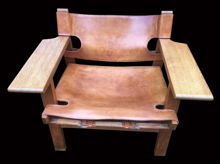 Pair of 'Spanish Chairs' by Borge Mogensen for Fredericia In Fair Condition For Sale In Little Burstead, Essex