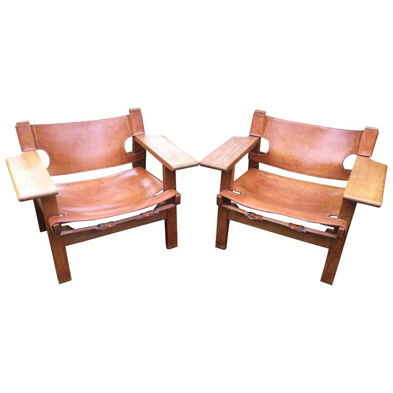 Pair of 'Spanish Chairs' by Borge Mogensen for Fredericia For Sale