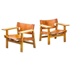"Pair of ""Spanish Chairs by Børge Mogensen, Fredericia Furniture, Denmark, 1960s"