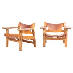 Pair of Spanish Chairs in Patinated Leather and Oak by Børge Mogensen, 1950s