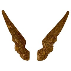 Pair of Spanish Colonial Carved Giltwood Angel Wings