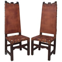 SPANISH Colonial TALL Wood Chairs Woven Saddle Leather style Luis BARRAGAN