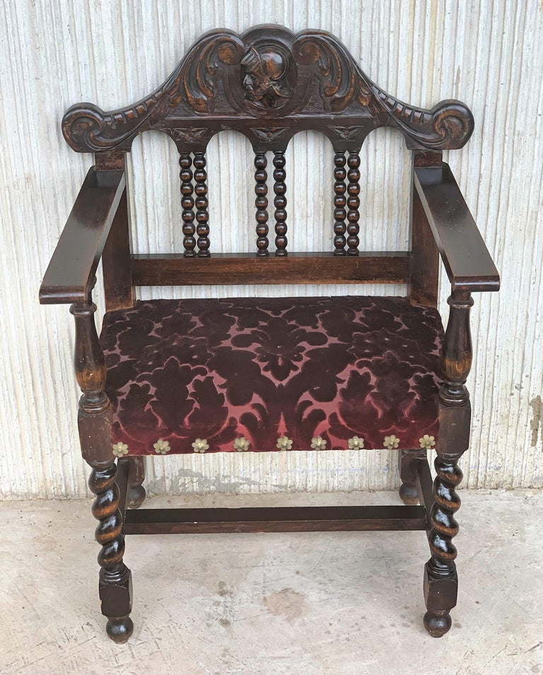 Baroque Pair of Spanish Early 18th Century Period Walnut and Upholstered Armchairs For Sale