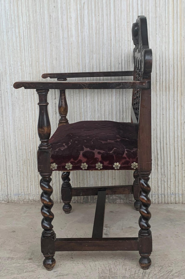 19th Century Pair of Spanish Early 18th Century Period Walnut and Upholstered Armchairs For Sale