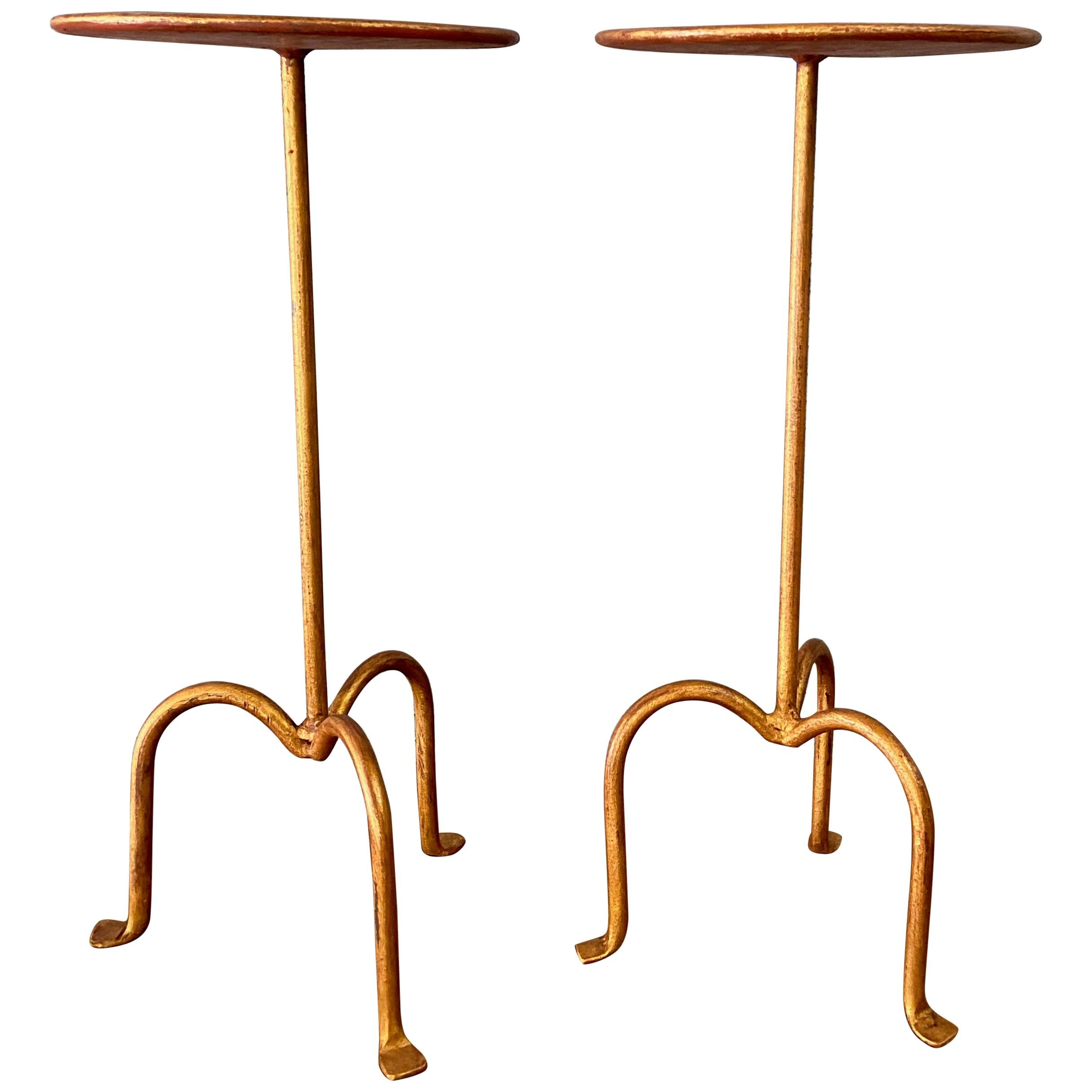 Pair of Spanish Gilt Iron Martini Side Tables