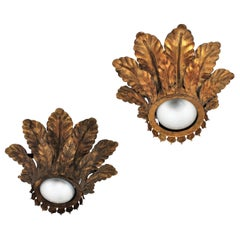 Pair of Spanish Gilt Iron Sunburst Leafed Crown Flush Mount Light Fixtures