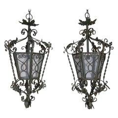 Pair of Spanish Handwrought Iron Lanterns, circa 1940s