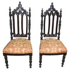 Pair of Spanish Moorish High Back Hall Chairs