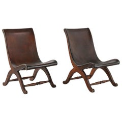 Pair of Spanish Leather Armchairs by Pierre Lottier for Valenti, 1940s