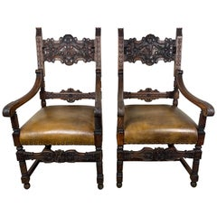 Pair of Spanish Leather Upholstered Armchairs