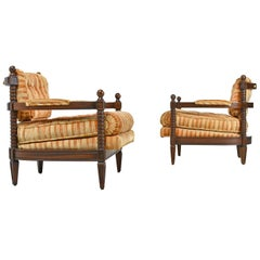 Pair of Spanish Mediterranean Style Original Striped Velour Armchairs, 1970s