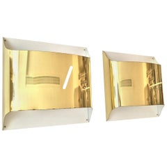 Pair of Spanish Metal Gold Wall Sconces, 1980s