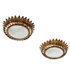 Pair of Spanish Mid-20th Century Gilt Metal Sunburst Crown Ceiling Lights