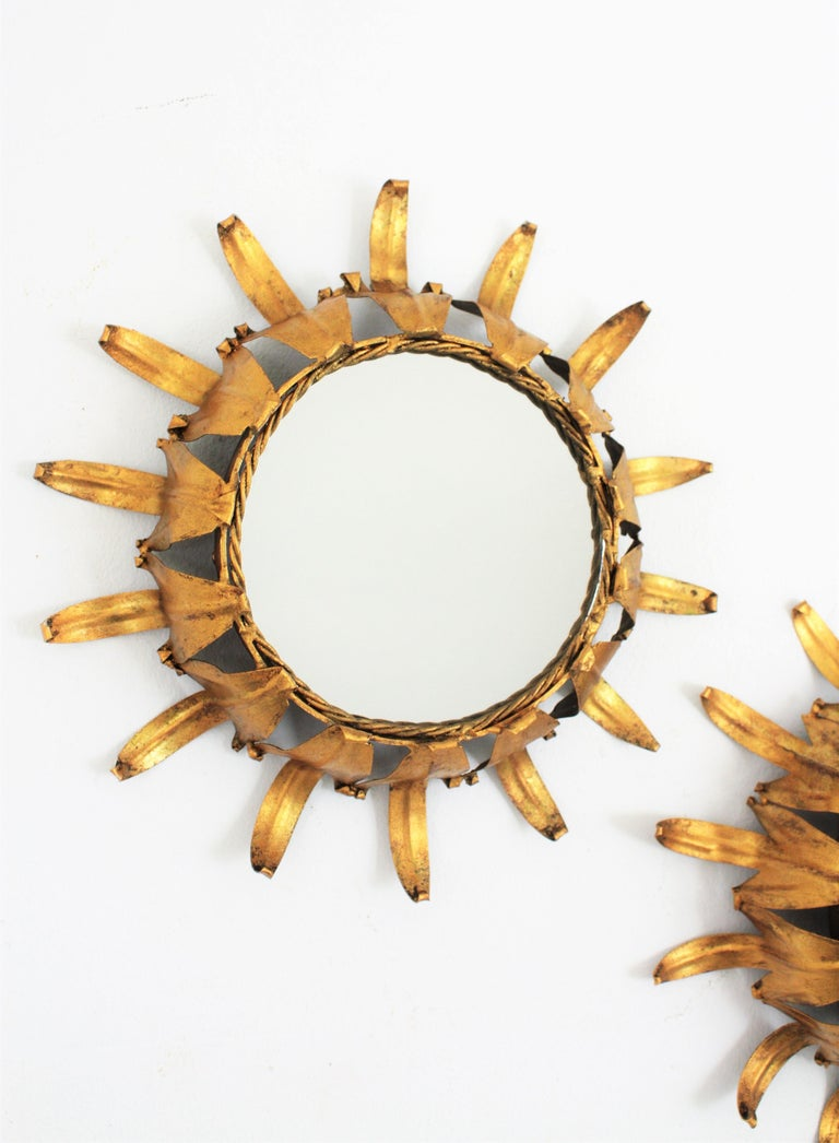 Pair of Spanish Mid-20th Century Mini Sized Gilt Iron Wall Sunburst Mirrors For Sale 1