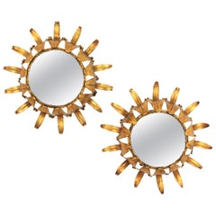 Pair of Spanish Mid-20th Century Mini Sized Gilt Iron Wall Sunburst Mirrors