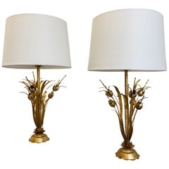 Pair of Mid Century, Flor Art Style Seed Pod Gilt Table Lamps