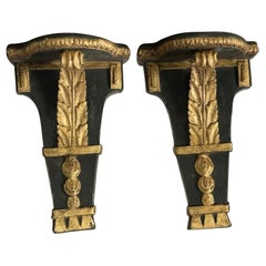 Pair of Spanish Neoclassical Carved Gilded and Ebonized Wooden Wall Bracket