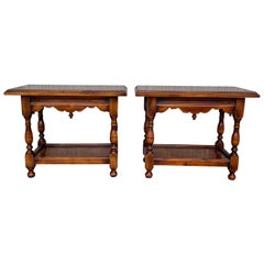 Pair of Spanish Nightstands or Side, Coffee Tables in Walnut Signed by Valenti