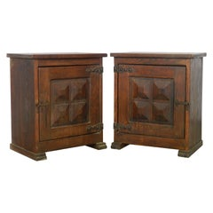 Pair of Spanish Nightstands Side Cabinets Bedside Tables Chestnut Midcentury