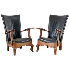 Pair of Spanish Oak and Leather Studded Lounge Chairs