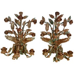 Pair of Spanish Painted Wrought Iron Candleholders, circa 1920s