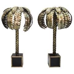 Pair of Spanish Palm Tree Brass Floor Lamps