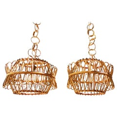 Pair of Spanish Rattan and Bamboo Chandelier, 1960s