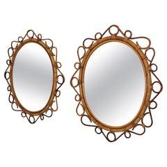 Pair of Spanish Rattan Bamboo Oval Mirrors, 1960s