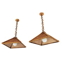 Pair of Spanish Rattan & Wicker Wire Trapezoid Pendants or Hanging Lights, 1960s