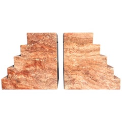 Pair of Spanish Red Travertine Table Bases Pedestals Step Design