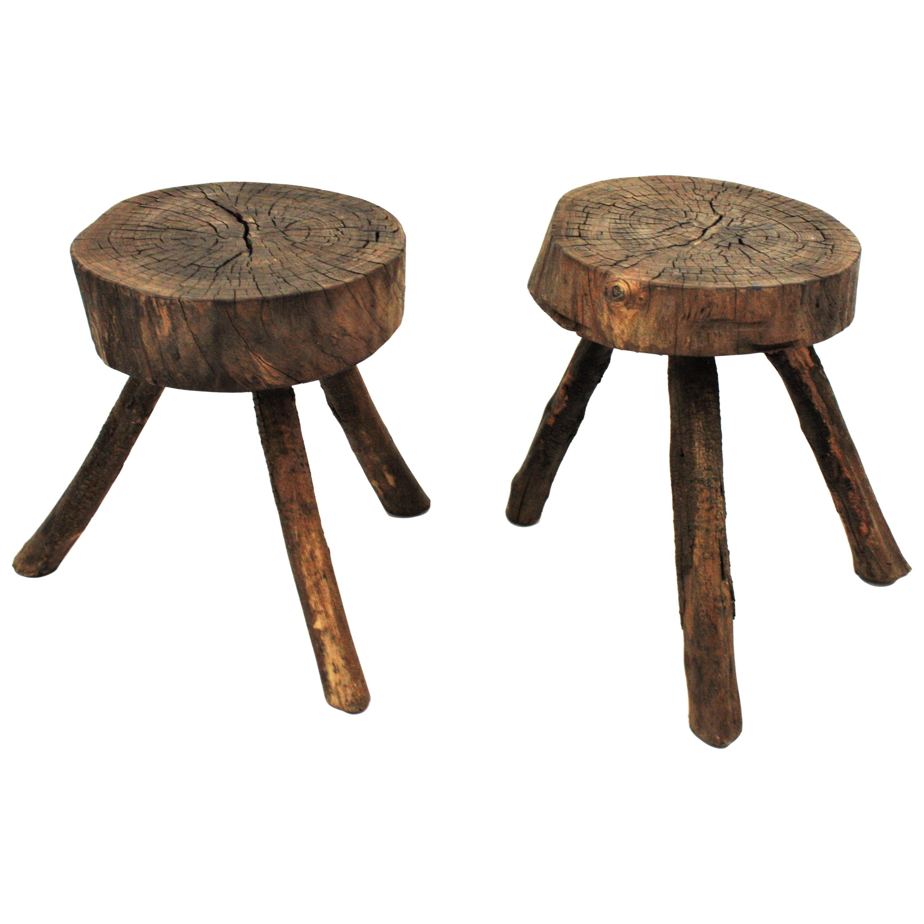 Pair of Spanish Rustic Tripod Stools or Side Tables