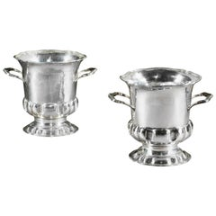 Pair of Spanish Silver Wine Coolers