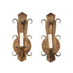 Pair of Spanish Single-Light Gold Tone Iron Sconces, Mid-20th Century