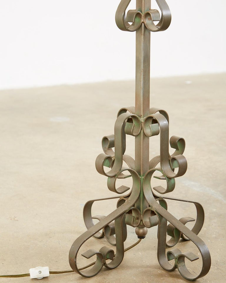 Pair of Spanish Style Wrough Iron Lamps by Marbro For Sale 3