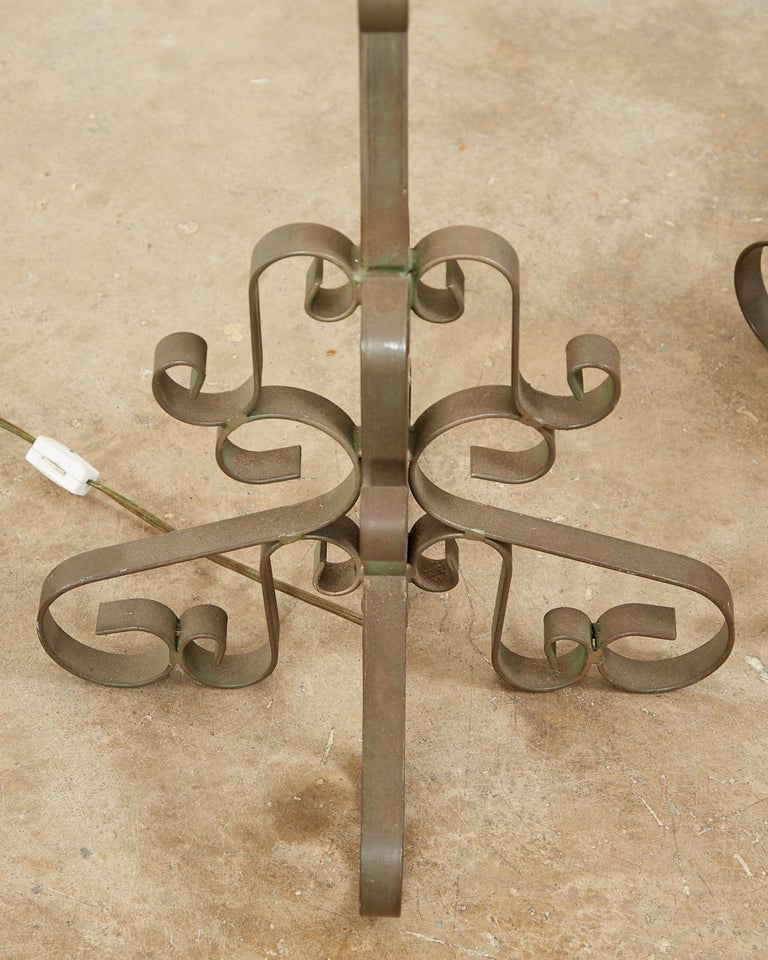 Pair of Spanish Style Wrough Iron Lamps by Marbro For Sale 8