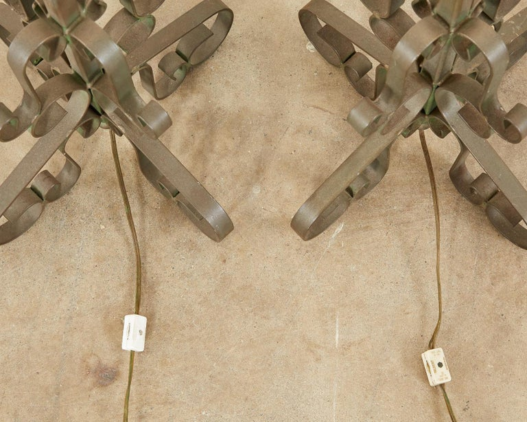Pair of Spanish Style Wrough Iron Lamps by Marbro For Sale 9