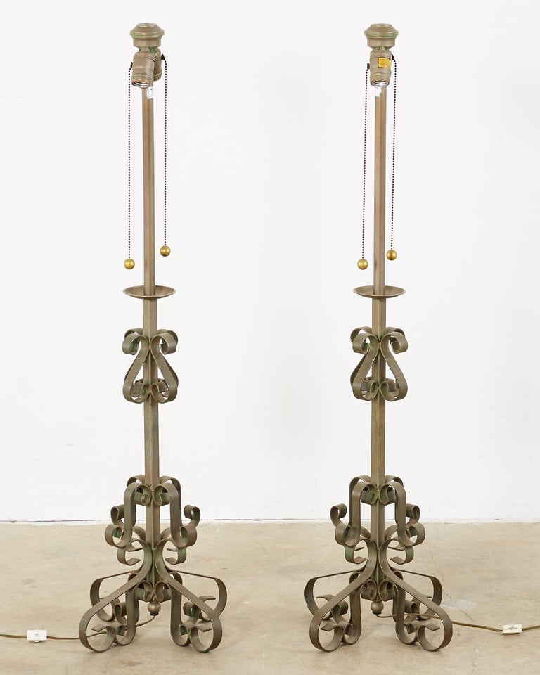 20th Century Pair of Spanish Style Wrough Iron Lamps by Marbro For Sale