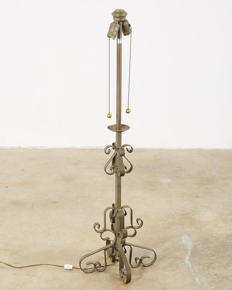 Brass Pair of Spanish Style Wrough Iron Lamps by Marbro For Sale