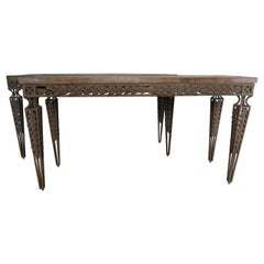 Pair of Spanish Style Wrought Iron Consoles with Wood Tops
