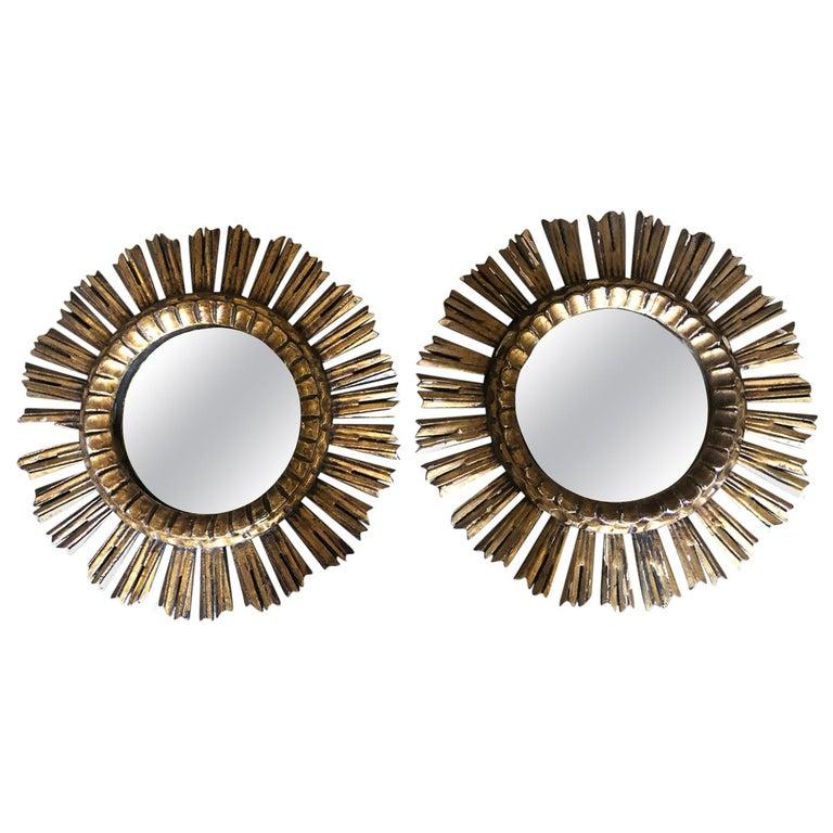 Pair of Spanish Sunburst Mirrors