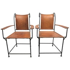 Pair of Spanish Wrought Iron and Leather Armchairs