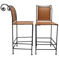 Pair of Spanish Wrought Iron and Leather Barstools