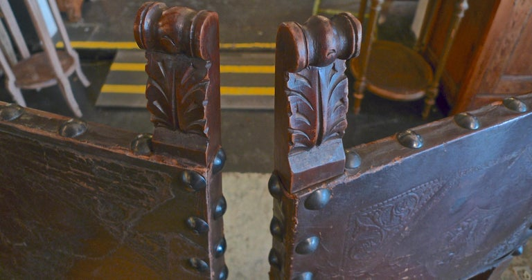 Pair of Spanish 18th Century High Back Studded Leather Dining Chairs For Sale 4