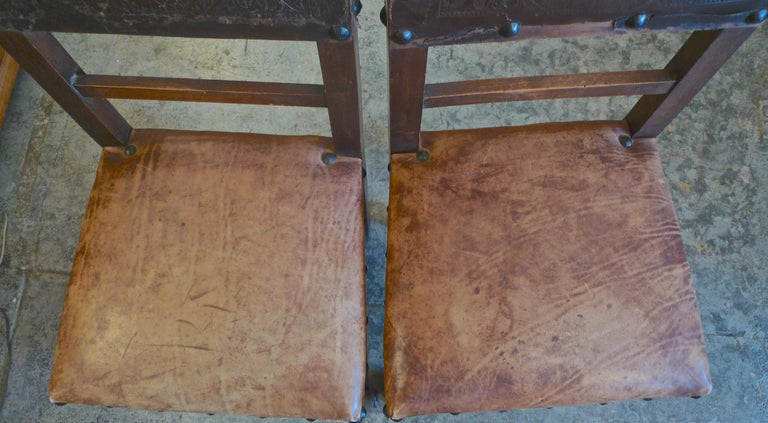Pair of Spanish 18th Century High Back Studded Leather Dining Chairs For Sale 5