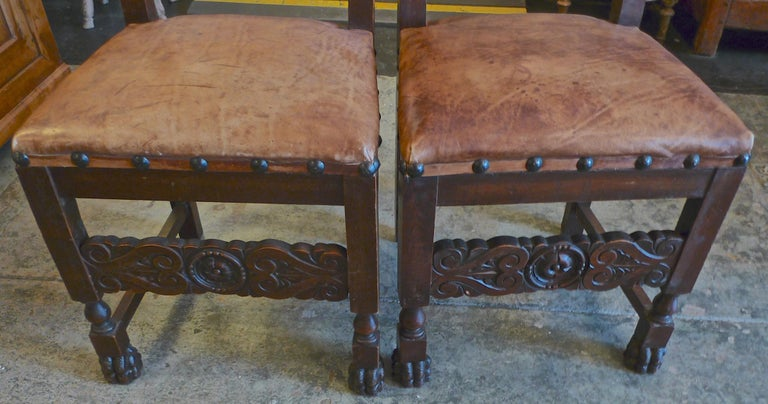 Pair of Spanish 18th Century High Back Studded Leather Dining Chairs For Sale 6
