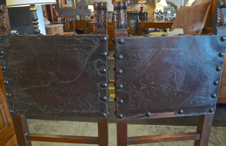 Pair of Spanish 18th Century High Back Studded Leather Dining Chairs For Sale 7