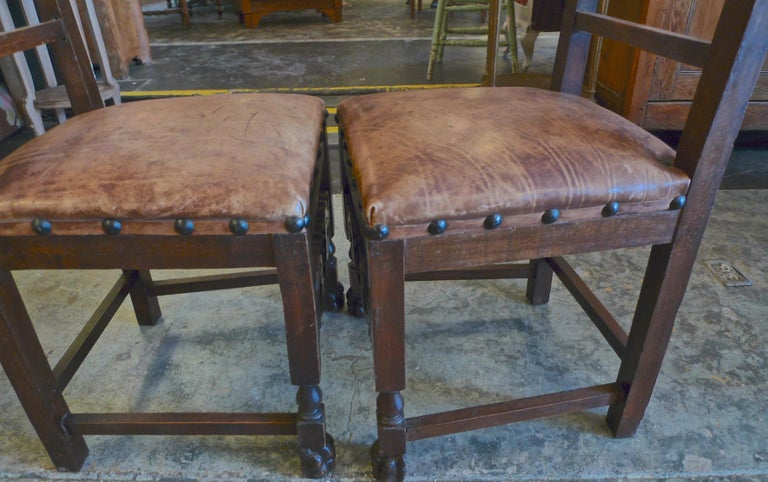 Pair of Spanish 18th Century High Back Studded Leather Dining Chairs For Sale 11