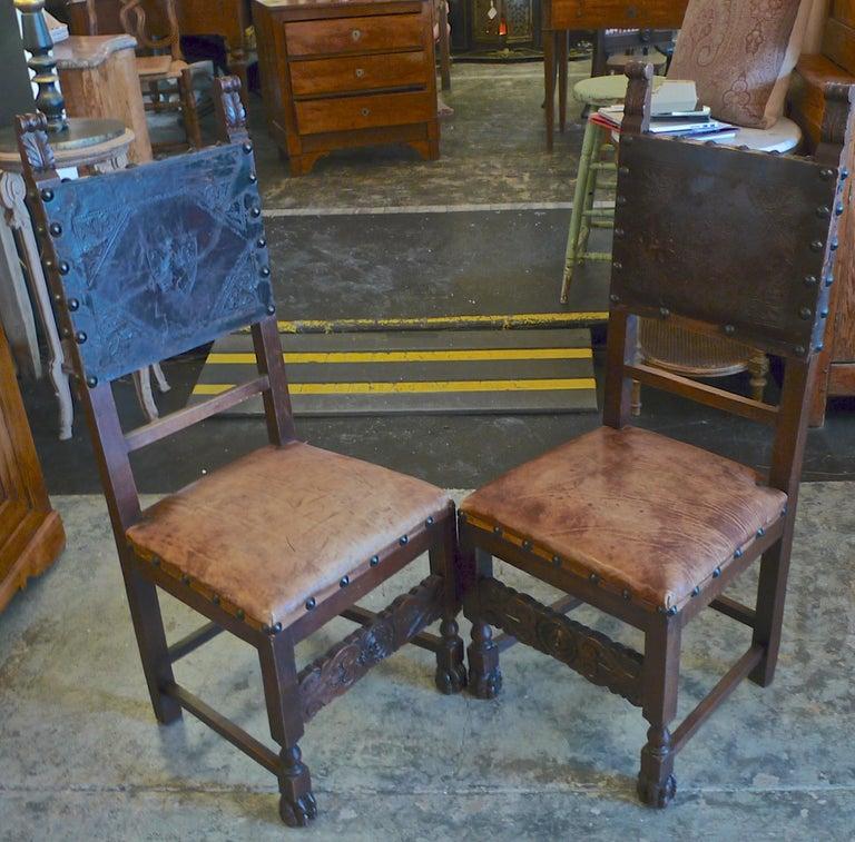 Pair of Spanish 18th Century High Back Studded Leather Dining Chairs For Sale 12