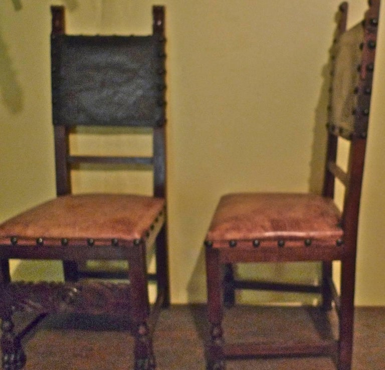 Stained Pair of Spanish 18th Century High Back Studded Leather Dining Chairs For Sale
