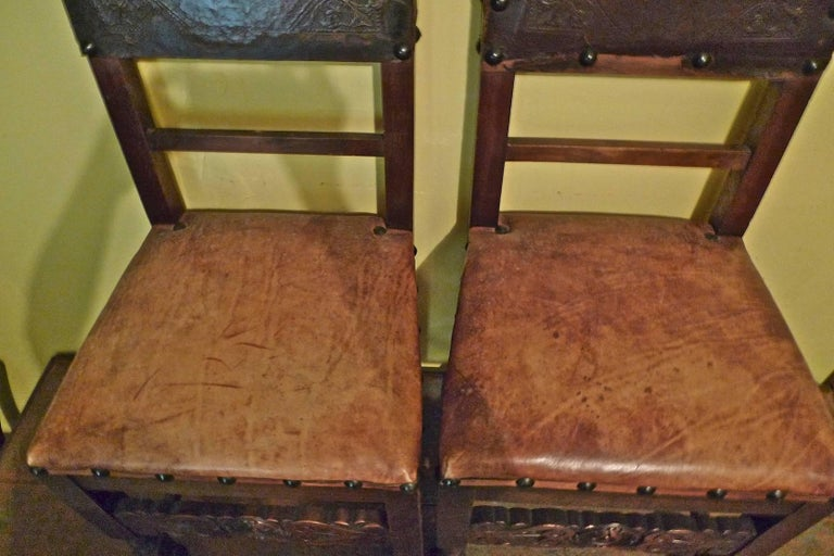 Wood Pair of Spanish 18th Century High Back Studded Leather Dining Chairs For Sale